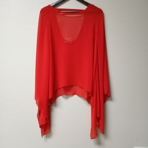 Karlie Red Chiffon Bell Blouse